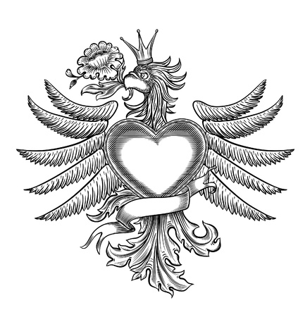 black and white emblem with the eagle, all the elements are grouped Vector