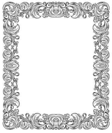 scroll border: black and white ornate frame, isolated