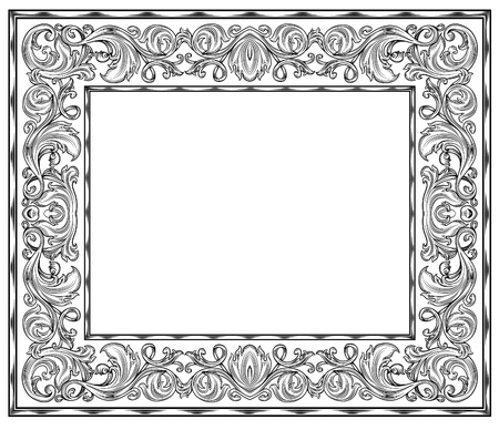 black and white retro frame, isolation Vector