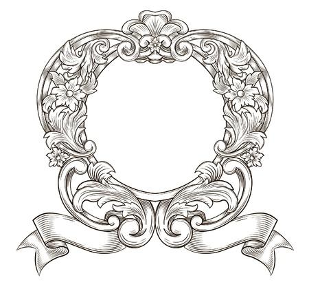 filigree: Vintage embleem Stock Illustratie
