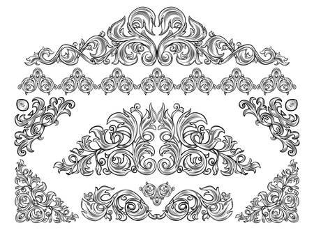 isolation: black and white decorative elements, isolation