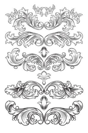acanto: elementos decorativos Conjunto Vectores