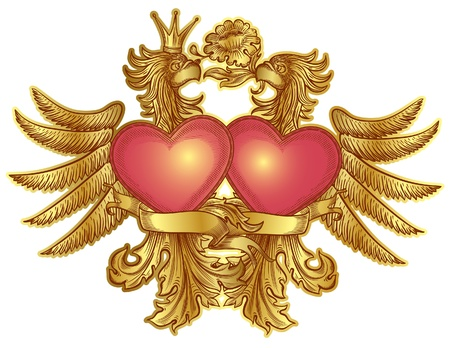 golden eagles with red hearts, isolated Vector