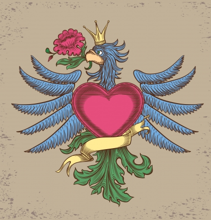 emblem with an eagle, all the elements are grouped Vector
