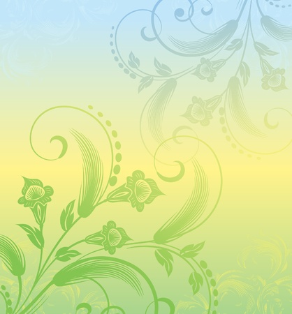 floral background with plants Vector