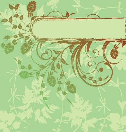 green floral background with leaves Vector
