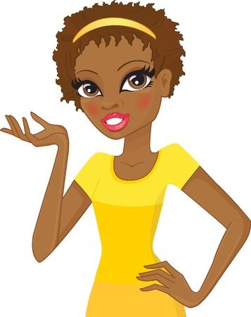 descent: girl of African descent gestures  Illustration