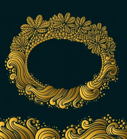 horizont: gold emblem on the sea Illustration