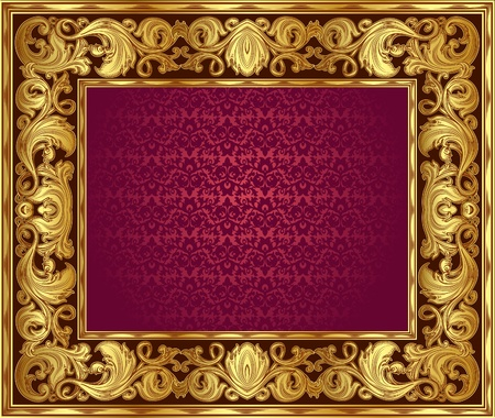 gold ornate frame. You can disable the internal red background and insert your image. Vector