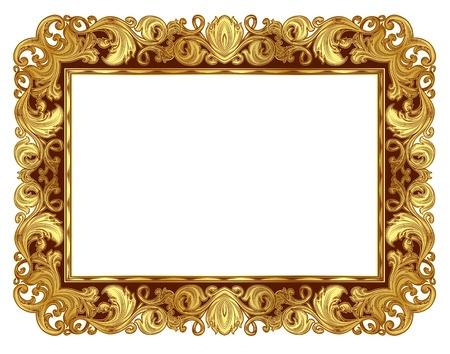 単独で、ルネサンス様式のゴールドの華やかなフレーム  イラスト・ベクター素材