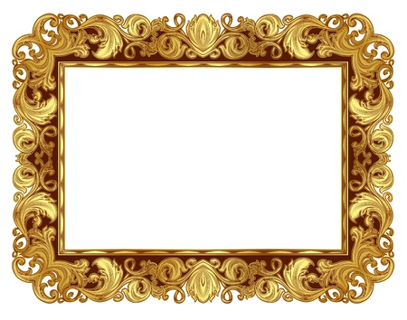 Marco adornado de oro en el estilo renacentista, de manera aislada Foto de archivo - 21069275
