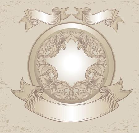 vintage emblem with floral patterns Vector