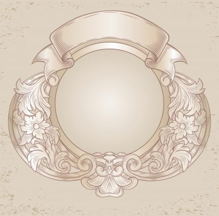 car ornament: vintage emblem with floral patterns