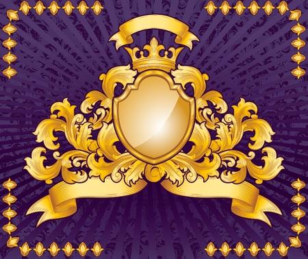 ornate gold emblem on purple background Vector