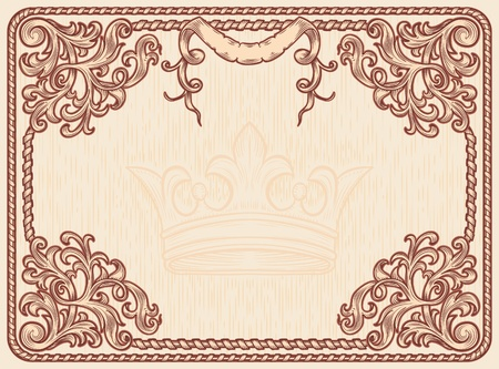 paper scroll: ornate vintage frame, the elements are grouped Illustration
