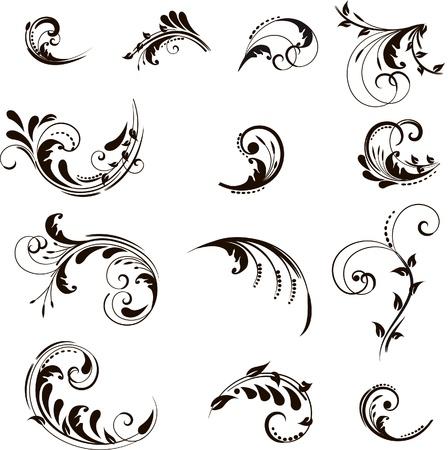Set of floral elements for design   Vectores