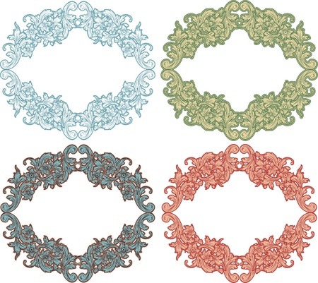 intricacy: set vintage floral color frames