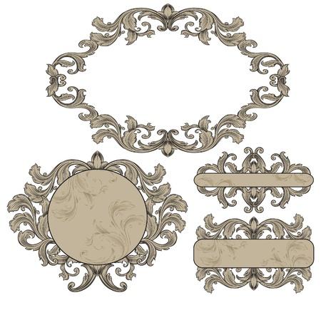 filigree frame: vintage frames set