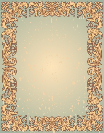 retro ornate frame, all the elements are grouped Vector