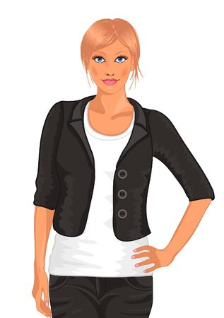 secretary office: blond girl in a business suit