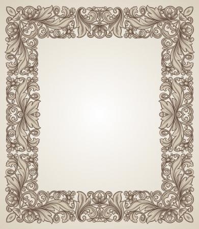 filigree frame: Vintage filigree frame with floral patterns