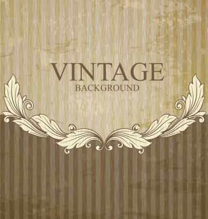 Vintage scroll pattern at grunge background  Vectores