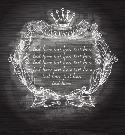 Vintage frame with crown  Chalkboard art   Vector