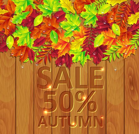 fall trees: autumn leaves on a wooden background
