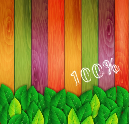 green leaves on a colored background Illustration