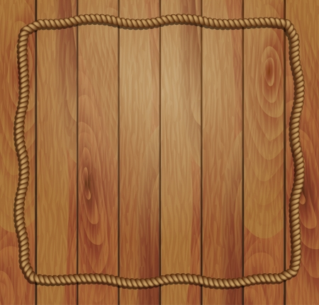 wooden plaque: frame of rope and wood background  Illustration