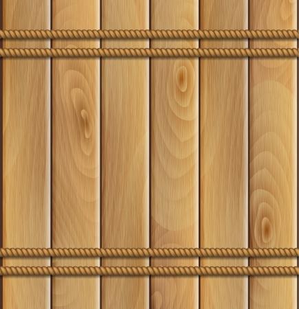 ロープおよび木製の背景  イラスト・ベクター素材