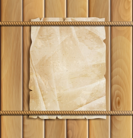 rope, paper and wood background Vector