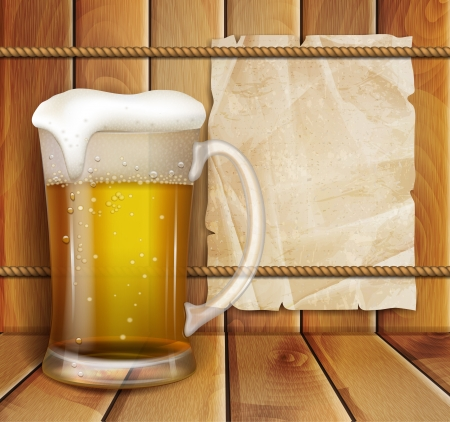 glass of beer and a wooden background Vector