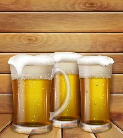 glasses of beer and a wooden background Vectores
