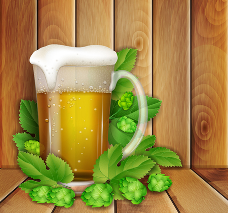 beer and hop on a wooden background Vector