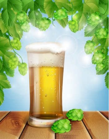 barley hop: glass of beer and hops Illustration