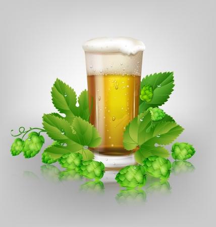 beer pint: vaso de cerveza y l�pulo