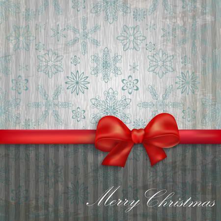 moños de navidad: fondo con copos de nieve y arco rojo