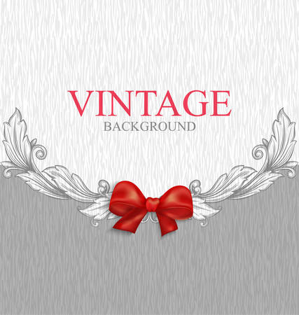 Vintage background with red bow Stock Vector - 23037824