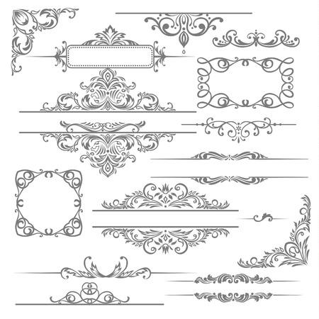 Vector conjunto los elementos caligráficos del diseño y decoración de la página Foto de archivo - 23037895