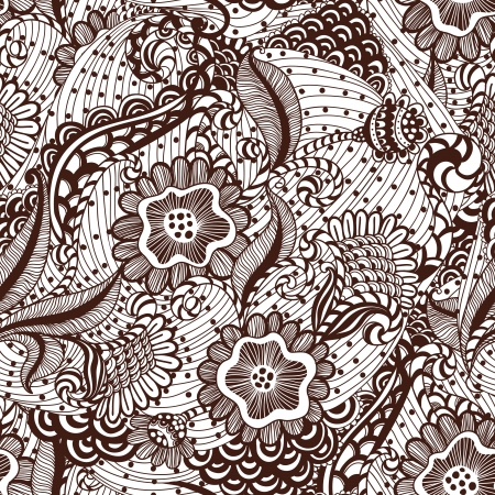 Seamles hand-drawn seamless ornament, pattern in engineering zentangle. Vector
