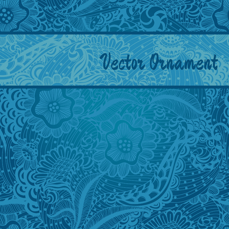 floral background with space for text and seamless blue pattern Vector