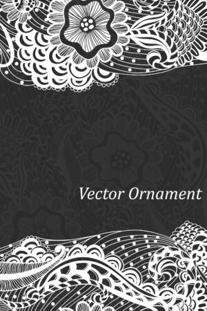 ard: Сard with ornaments hand-drawn, pattern in engineering zentangle. Invitation card.