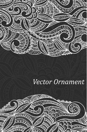 ard: Ð¡ard with ornaments hand-drawn, pattern in engineering zentangle. Invitation card.