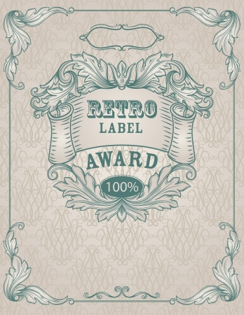 Vintage banner. Template certificate, diploma. Elements of retro design. Illustration