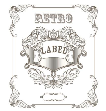 batik motif: Vintage banner. Template certificate, diploma. Elements of retro design. Illustration