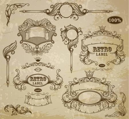 ornamental scroll: Set of vintage elements: ribbons,  and emblem