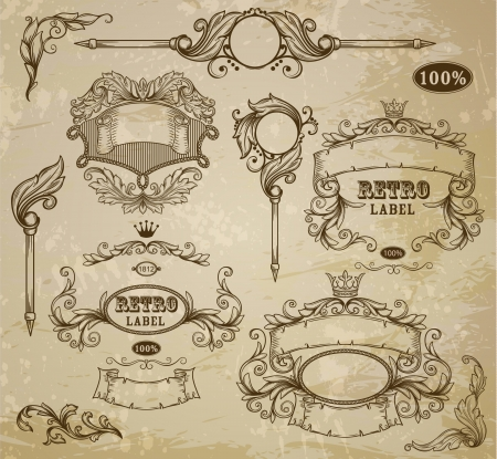 Set of vintage elements: ribbons,  and emblem