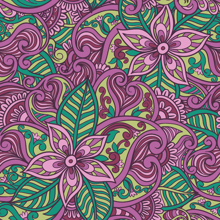 Decorative floral ornamental seamless pattern