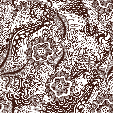 Seamles hand-drawn seamless ornament, pattern in engineering zentangle. photo